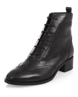 Black Leather Lace Up Brogue Boots  | New Look