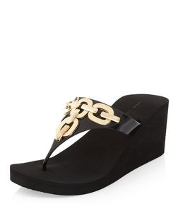 Black Chain Trim Front Wedge Flip Flops  | New Look