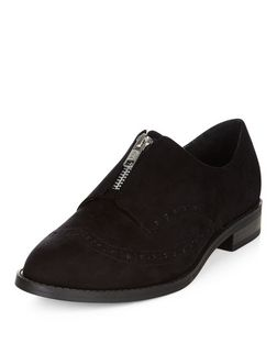 Wide Fit Black Zip Front Suedette Brogues  | New Look