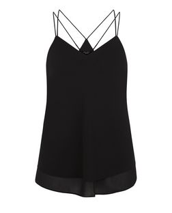 Petite Black Double Strap Layered Cami  | New Look