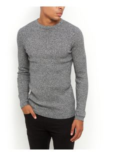 Black Ribbed Crew Neck Jumper  | New Look