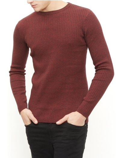 Red Ribbed Crew Neck Jumper  | New Look