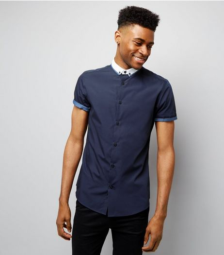 Navy Contrast Trim Short Sleeve Shirt  | New Look