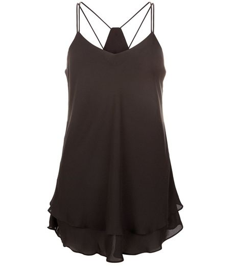 Tall Black Double Strap Layered Cami | New Look