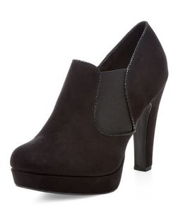 Black Comfort Suedette Heeled Ankle Boots | New Look