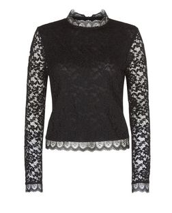 Black Lace Long Sleeve Top  | New Look