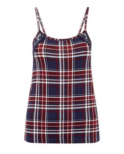 Navy Check Lace Trim Pyjama Cami  | New Look