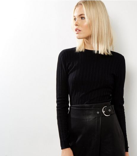 Tall Black Ribbed Jumper  | New Look