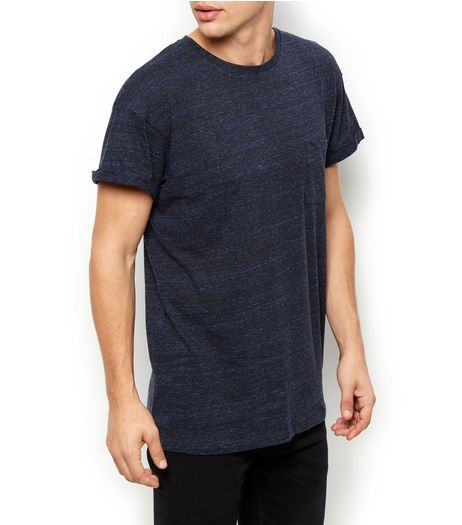 Navy Space Dye Pocket Front Crew Neck T-Shirt | New Look