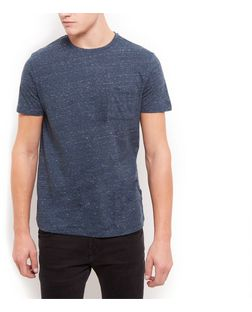 Blue Space Dye Pocket Front Crew Neck T-Shirt | New Look