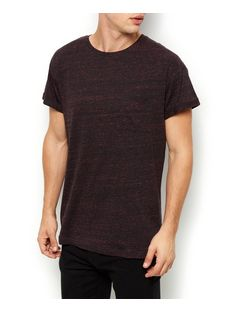 Burgundy Space Dye Pocket Front Crew Neck T-Shirt | New Look