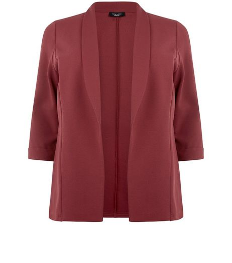 Curves Dark Red Blazer  | New Look