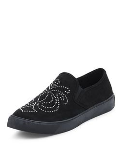 Black Stud Embossed Slip On Plimsolls  | New Look