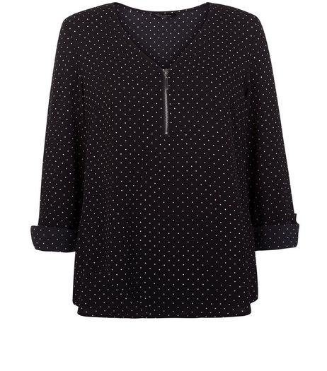 Black Polka Dot Print Zip Front Blouse  | New Look