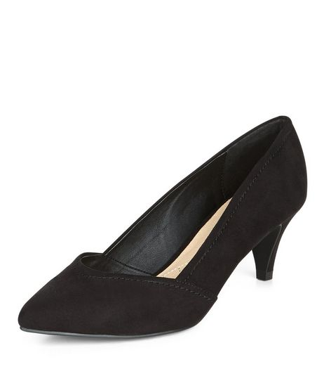 Wide Fit Black Comfort Pointed Kitten Heels  | New Look