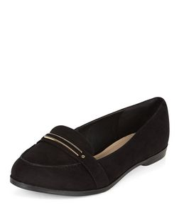 Wide Fit Black Comfort Gold Trim Loafers | New Look