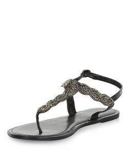 Wide Fit Black Embellished Sandals  | New Look