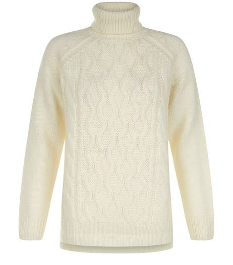 Teens Cream Cable Knit Turtle Neck Jumper  | New Look