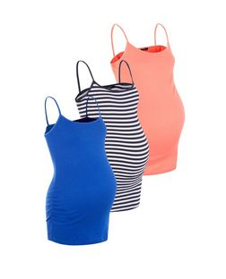 Maternity 3 Pack Blue Coral and White Stripe Camis | New Look