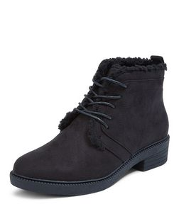 Teens Black Faux Shearling Lined Lace Up Boots  | New Look