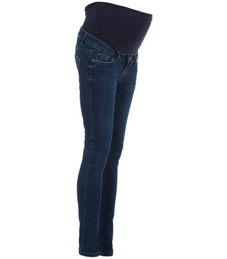 Maternity Navy Overbumb Skinny Jeans | New Look
