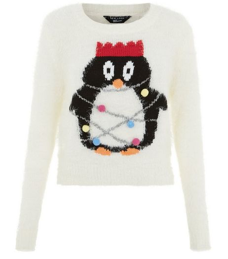 Teens Cream Penguin Tinsel Jumper  | New Look