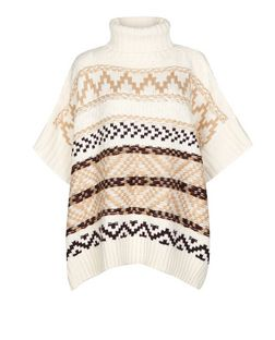 Cream Aztec Knit Roll Neck Poncho  | New Look