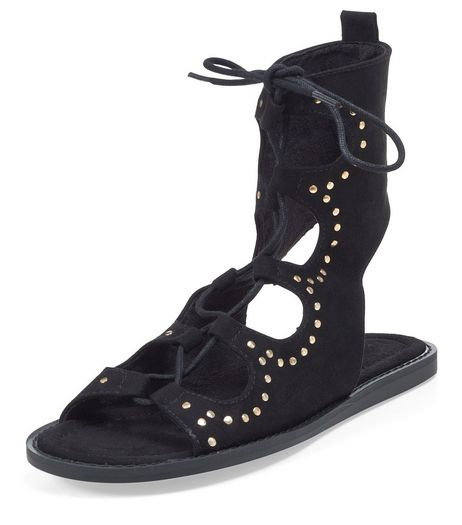 Black Studded Trim Lace Up Sandals | New Look