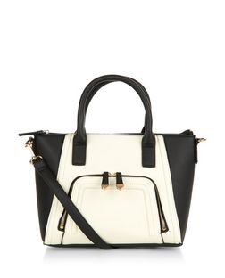 Black Contrast Zip Pocket Structured Bag | New Look