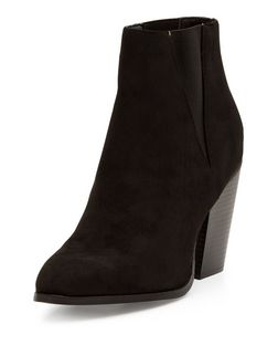Black Pointed Block Heels Chelsea Boots | New Look