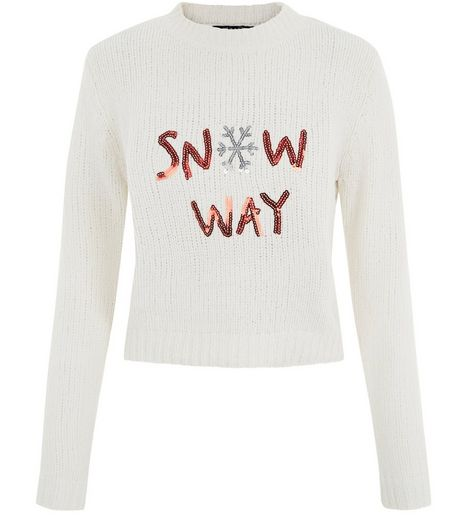 Teens Cream Sequin Snow Way Jumper  | New Look