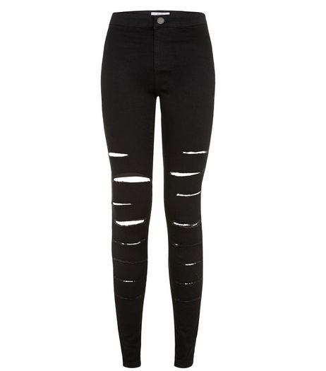Black Extreme Ripped High Waisted Super Skinny Jeans  | New Look