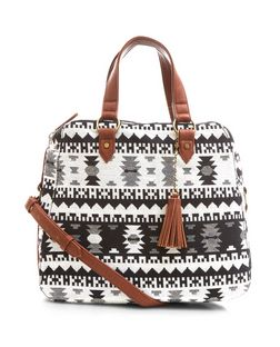 Black Aztec Print Shoulder Bag | New Look