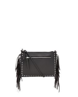 Black Studded Fringe Across Body Bag  | New Look
