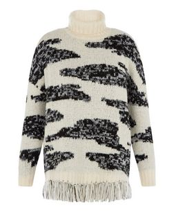 Black Premium Abstract Roll Neck Tassel Hem Jumper  | New Look