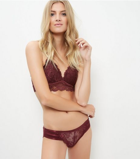 Burgundy Lace Moulded Bralet | New Look