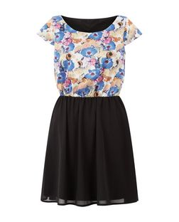 Pussycat Black Floral Print Contrast Skater Dress  | New Look