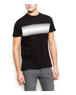 Black Striped Print T-Shirt  | New Look