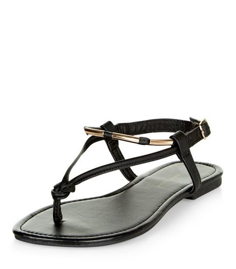 Wide Fit Black Metal Knot Sandals  | New Look