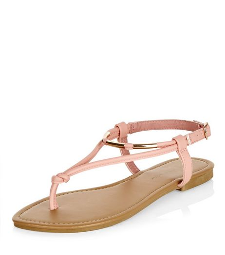 Wide Fit Coral Metal Knot Sandals  | New Look