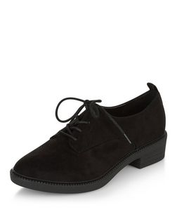 Black Suedette Lace Up Shoes  | New Look