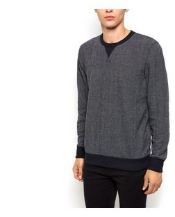 Navy Textured Knit Crew Neck Jumper  | New Look