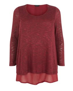 Plus Size Burgundy Chiffon Hem Top  | New Look