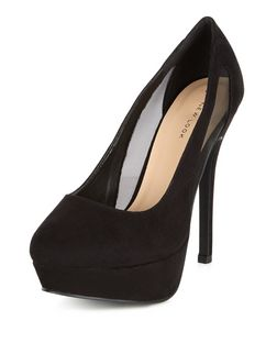 Black Mesh Panel Platform Heels  | New Look