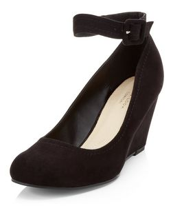 Black Comfort Ankle Strap Wedges  | New Look