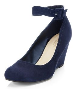 Navy Comfort Ankle Strap Wedges  | New Look