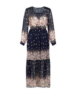 Mela Navy Long Sleeve Floral Print Maxi Dress  | New Look