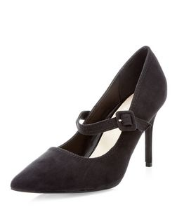 Black Comfort Strap Front Pointed Heels  | New Look