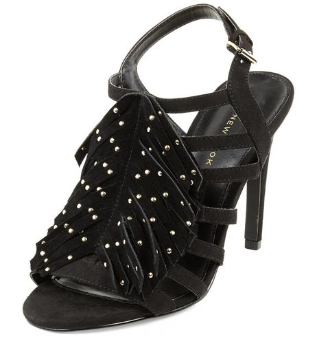 Wide Fit Black Stud Fringe Front Strappy Heels  | New Look