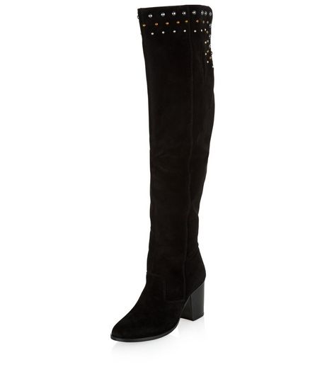 Wide Fit Black Suede Stud Top Over The Knee Boots | New Look